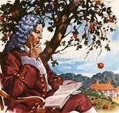 Newton under apple tree
