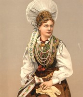 This is a lady in costume in Austria-Hungary.