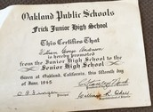 William's middle graduating certificate