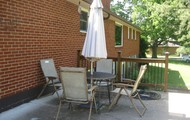 Wrought Iron Table with Iron Umbrella Stand - Umbrella - 4 Folding Chairs