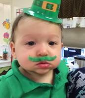 Brandon using his dramatic play skills, dressing up as a leprechaun