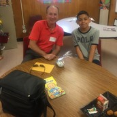 Brook Morgan (Samsung) and Jose Miguel Rivera (4th grade) at Decker Elem