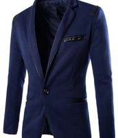 Pocket Design PU Leather Edging Slimming Lapel Long Sleeve Fashion Polyester Blazer For Men