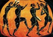 een oude tekening van de olympische spelen