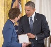 Sally Ride and Barack Obama in 2009