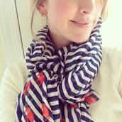 Navy Striped Elephant scarf