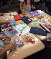 2nd graders setting up their writing journals