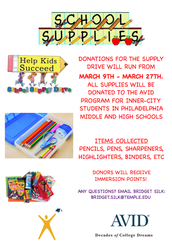 AVID School Supply Drive