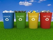 differnt bins to recyle at home,school ect...