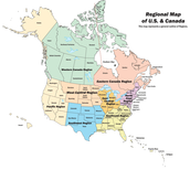 A map of the U.S and Canada