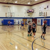 7th graders warming up for their game