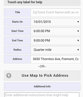 Step 1: Create a ZipTyme event with location and time