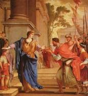 Cornelia pushes away Ptolemy's crown