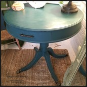 SOLD-Round Teal Occasional Table with Drawer: $125
