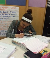 Senior Francis from WHS works dilligently on her math.