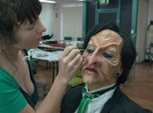 A special effects make-up artist works with live models or structures in the entertainment industry.
