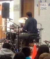 Blue-Man Drummer Visits Sipley!