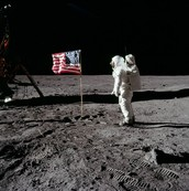 Buzz Aldrin on the first walk on the moon.
