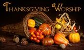 Joint Thanksgiving Service, Sunday, Nov. 23, 5:00 PM