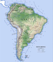 Topography Map of South America