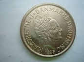 20 Taani krooni, esikülg, sellel on kujutatud kuninganna portree