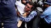 Former President of Maldives. Was manhandled , then denied for bail due to Terrorism offenses.