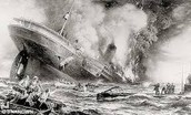 A U.S cruse liner being sunk by German Sub.