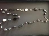 Long black grey silver necklace