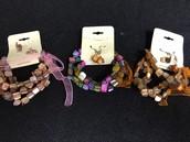 Elastic Beaded Bracelet & Earring Set