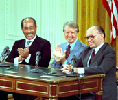 Leaders and Carter during the retreat