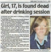 Girl found Dead after Drinking session