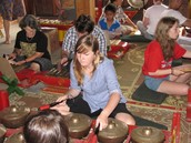 Trying out gamelan