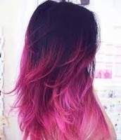 A girl with purple and pink dyed hair