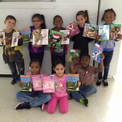 1st grade with their books