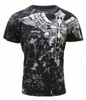 Camisa de negro con cruz blanca y gris