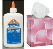 1 bottle of glue & 1 box of Kleenex