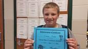 Conner received a bus award!