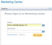 Reset Password within the marketing center