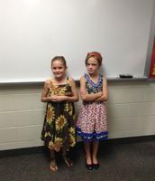 Sara and Nina posing before leading the Pledge.