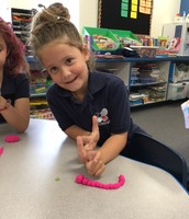 Making a caterpillar with the play dough