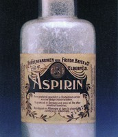 Aspirin in glass bottle