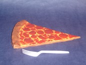 Student hand built clay pizza slice
