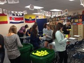 KHS KEY Club sorting Great Ball Drop balls.