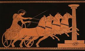 An Ancient painting of a chariot Racer