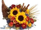 Cornucopia Arrangement with Sunflowers and Roses
