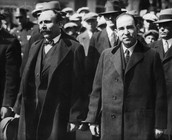 Sacco with his partner, Vanzetti, arriving at the court.