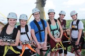 Ziplining On a Break from Construction Work