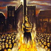 "A ""witch"" being burned at the stake"