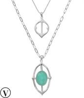 Fortuna Stone Pendant Necklace - Silver $47.40