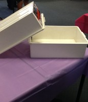 the table and two tote trays